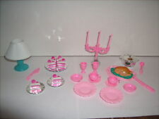 Barbie Doll Miniature Accessories Cake Turkey Dinner Lamp Dishes 28 pc Lot