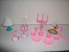 Barbie Doll Miniature Accessories Cake Turkey Dinner Lamp Dishes 28 pc Lot