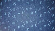 Baumwolle Stoff Totenkopf Pirat Anker blau hellblau