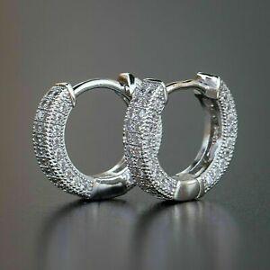 1.00Ct Round Cut Diamond Hoop Huggie Men & Women Earrings 14K White Gold Finish