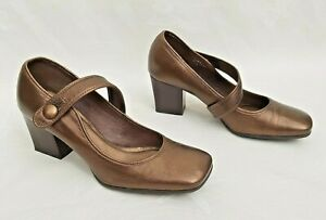 """CLARKS BRONZE BROWN LEATHER MARY-JANE STYLE SHOES 2.5"""" HEEL UK6 FREE UK P&P!!"""