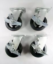 """6"""" x 2"""" Rubber On Cast Iron Caster - Swivel with Brake (4EA)"""