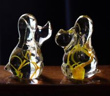 Lovely Pair Of Hand Blown Art Glass Puppy Dog's