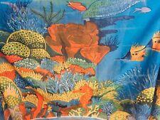 "RIMA Sarong Big Scarf Fish Seahorse Green blue Scarf Wrap Beach 64"" X 42""NWOT"