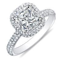 2.05 Ct Princess Cut Micro Pave Halo Round Diamond 14K Engagement Ring H,VS2 GIA