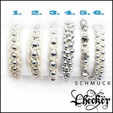 Damen Perlen Armband verschiedene Shamballa Weiss Pink Lila Schwarz Braun Grün
