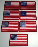 7 United States Flag Iron-On Patch USA Military Emblem Red Border
