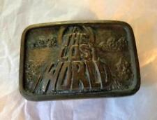 Vintage The Lost World Volcano Movie Logo Brass Tone Belt Buckle