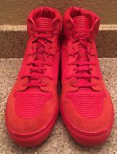 Men's Balenciaga Red Suede Monochrome Hightop Sneakers Size 47 US 14 ARENA