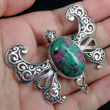 BUTTERFLY Design ZOISITE & 925 Sterling Silver BROOCH - PENDANT