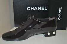 NIB CHANEL Burgundy Black Patent Leather Lace Up Oxfords Pearl Heel 41 Shoe