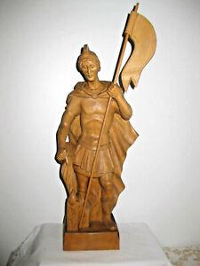 Holzfigur geschnitzt, Heiliger Florian, 37 cm, natur, mit Eckkonsole, TOP 421