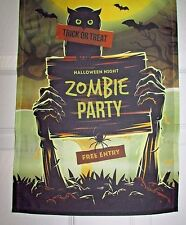"""ZOMBIE PARTY Halloween Night Small Garden Flag 12"""" X 18""""  FREE ENTRY!"""