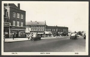 Postcard North Cheam in Sutton London shops and motor cars RP vintage