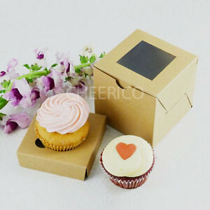 Standard Cup Cake Box KRAFT with KRAFT base - Hold 1 cupcake - 25 sets in a Pack