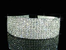 9 Rows Prom  made with Swarovksi Crystal Choker Silver Necklace 3cm Xmas BN0151