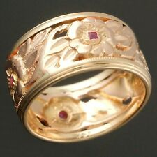 c1940's Solid 14K Yellow & Rose Gold, Ruby, Floral Filigree Wedding Band