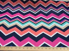 "Hot Pink/Black/Coral Chevron 100% Polyester High Multi Chiffon Fabric 58"" W Bty"