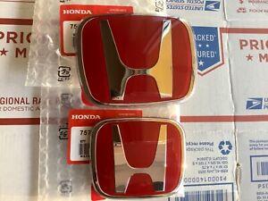 2pcs set Honda Fit GE 09 - 13 JDM Red H Front Rear Type R grille emblem logo