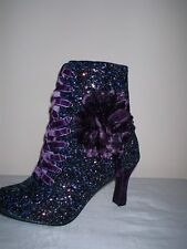 PURPLE GLITTER HEELS VINTAGE VICTORIAN STYLE ZIP FLOWER UNIQUE  ANKLE BOOTS 5/38