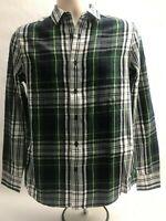 Topman Men's Flannel Shirt Streetwear Fashion Size US Small Plaid Green Gray