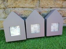 Three Wooden House Photo Frames