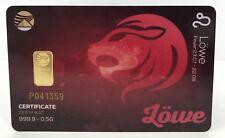 Geschenkkarte - Sternzeichen Löwe - Goldbarren 999.9 LBMA zertifiziert 0,5g
