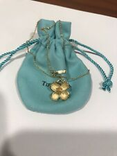 """Tiffany & Co 18K Yellow Gold Flower Necklace 16"""" Chain"""