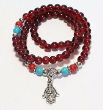 2 Multilayer Vintage Lucky Hand Red Agate Beats Antique Silver Plated Bracelet