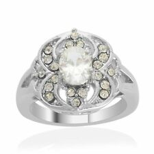 White CZ w/White Austrian Crystal Accents Ring - Stainless Steel - Size 6