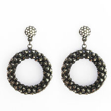 Open Circle Round Dangle Made With Swarovski Stone Earrings Rhinestone Black