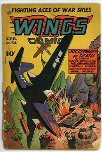 Wings Comics #54 (1940) - 1.5 FR/G *Matt Baker Art* Fiction House