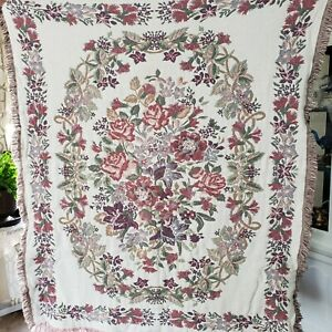 """Goodwin Weavers 100% Cotton Reversible Tapestry Throw Blanket Made in USA 50X60"""""""