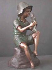 Bronze Fountain Boy w/ Fish Garden Art & Pump