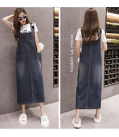 Women Casual Loose Denim Strap Dungaree Dress Jeans Long Pinafore fashion summer