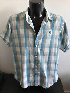 Lambretta Blue and White Checked Shirt Size XL