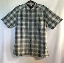 The NORTH FACE Mens Sz Lg Button Down Blue Plaid Short Sleeve Shirt 31M