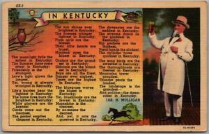 """1940s Kentucky Linen Greetings Postcard """"IN KENTUCKY"""" J.H. Mulligan Poem Unused"""