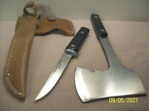 1950's~UTICA SPORTSMAN~U.S.A.~UNUSED~HUNTING KNIFE & CAMP AXE COMBO w/SHEATH~