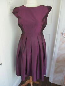 MARINA KANEVA Purple Shimmer Tie Waist Evening Occasion Dress Size 18 New