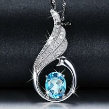 NEW Blue Round Topaz Crystal Diamond Necklace Gift For Her Women Perfect Pendant