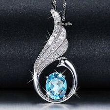 Redondo Azul Topacio Cristal Collar De Diamantes Para Ella De Mujer Colgante