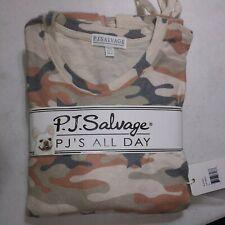 P.J.Salvage Womans 2 Piece Pajama Set Oatmeal Camo Size Small