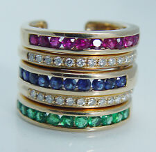 Unique 14K Yellow Gold Diamonds Emerald Sapphire Ruby Interchangeable Ring Set