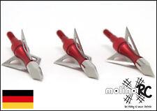 3x Pfeilspitzen rot Jagdspitzen Armbrust Bogen Alu mit 3 Klingen aus Edelstahl