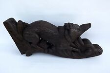 French Black Forest Carved Oak Wood Hunt Sculpture Wild Boar Pediment