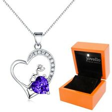 925 Silber lila Herz Kristall Zirkonia Anhänger mit Kette Halskette + LED Box