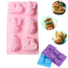6 Cavities Christmas Elk Sled Snowman Handmade Soap Mould 3D DIY Silicone Mold