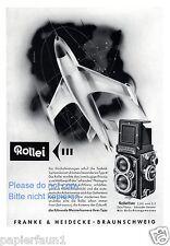 Rolleiflex Kamera Reklame von 1957 Düsenjäger Rakete Weltall Zukunft Rollei  ßß