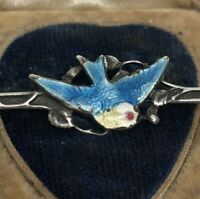Vintage Sterling Silver Brooch Pin 925 Antique Bar Enamel Bird Stick
